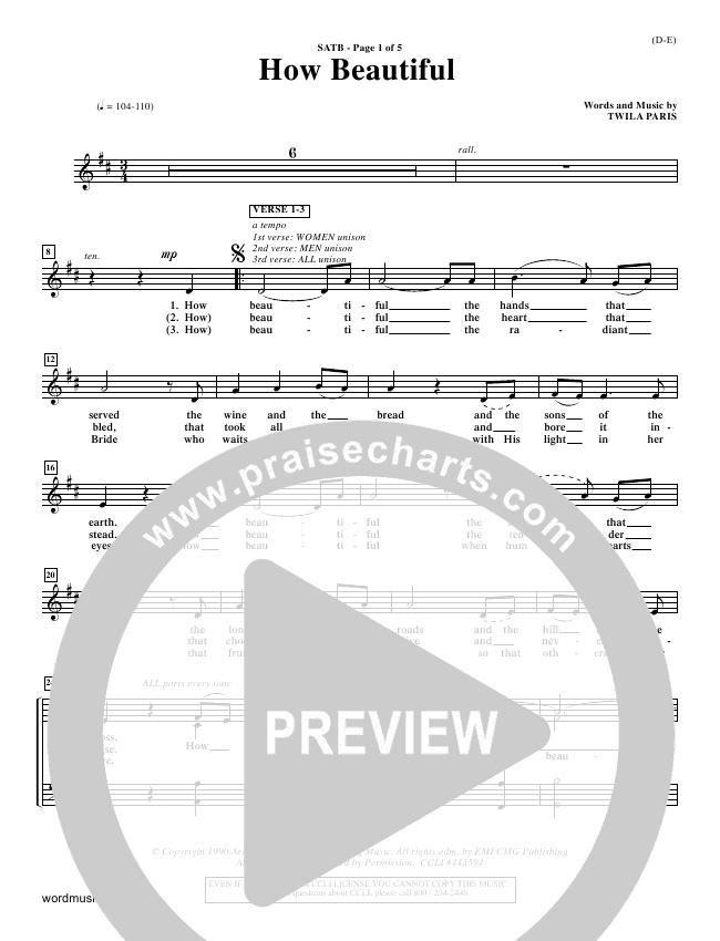 How Beautiful Choir Sheet (SATB) (Twila Paris)