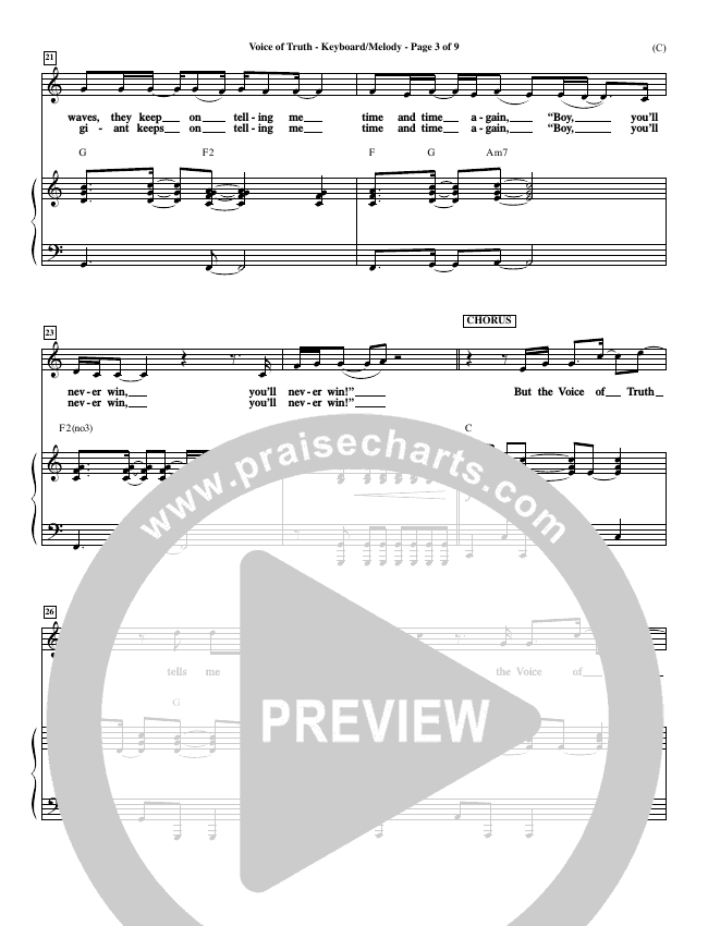 Voice of Truth Piano Sheet (Mark Hall)