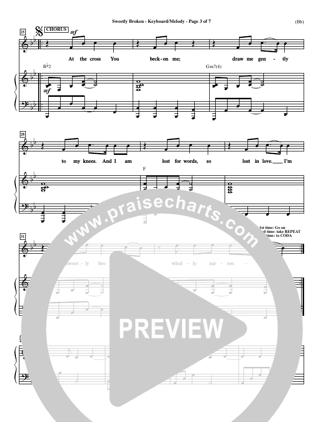 Sweetly Broken Piano Sheet (Jeremy Riddle)