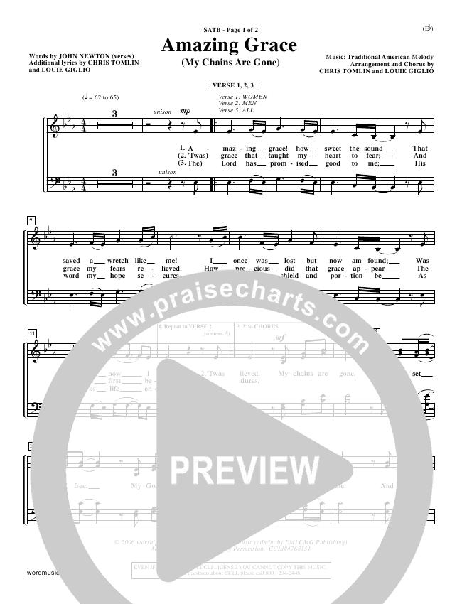 Amazing Grace (My Chains Are Gone) Choir Sheet (SATB) - Chris Tomlin ...