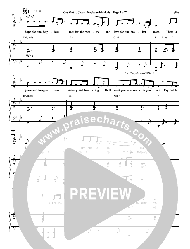 Cry Out To Jesus Piano Sheet (Third Day)