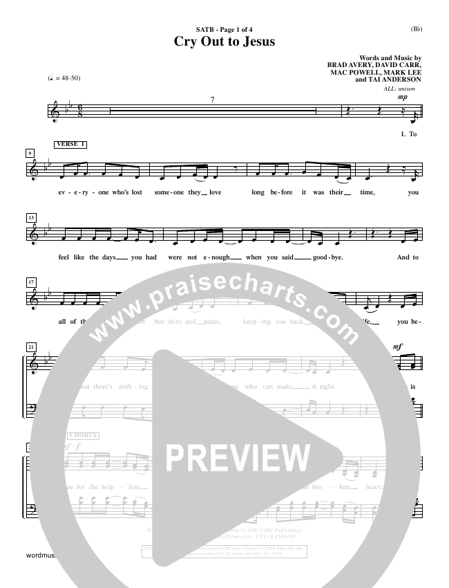 Cry Out To Jesus Choir Sheet (SATB) (Third Day)