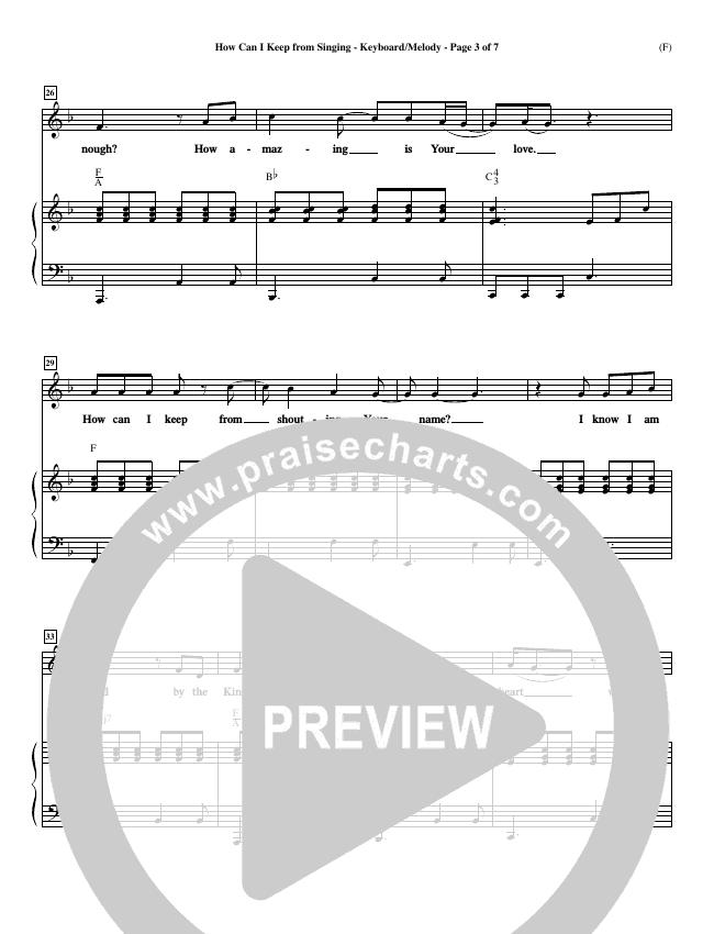 How Can I Keep From Singing Piano Sheet (Matt Redman)