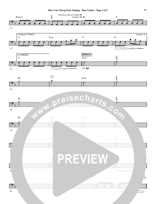 How Can I Keep From Singing Rhythm Chart (Matt Redman)