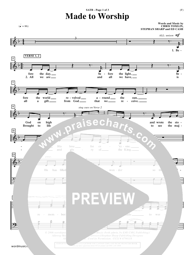 Made To Worship Choir Sheet (SATB) (Chris Tomlin)
