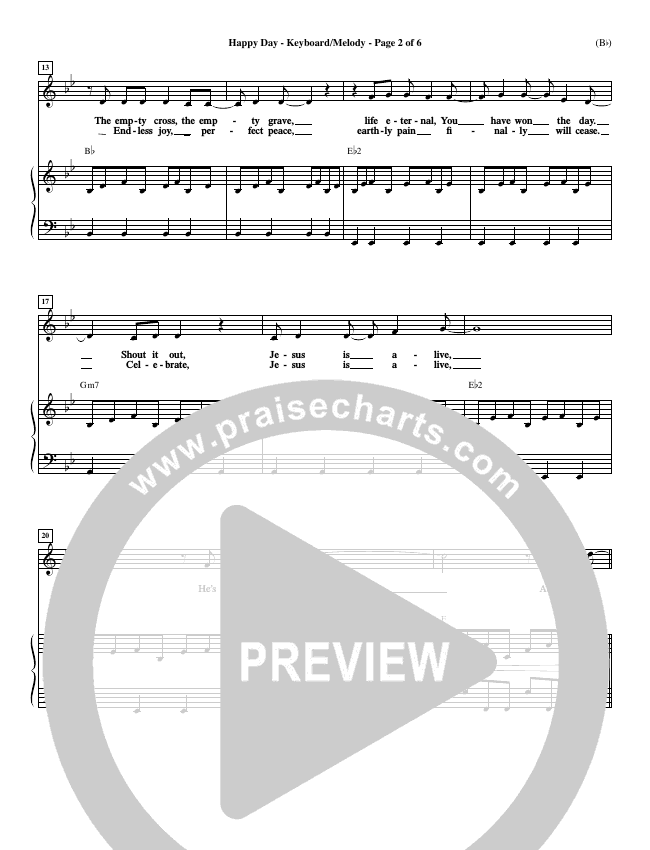 Happy Day Piano Sheet (Tim Hughes)