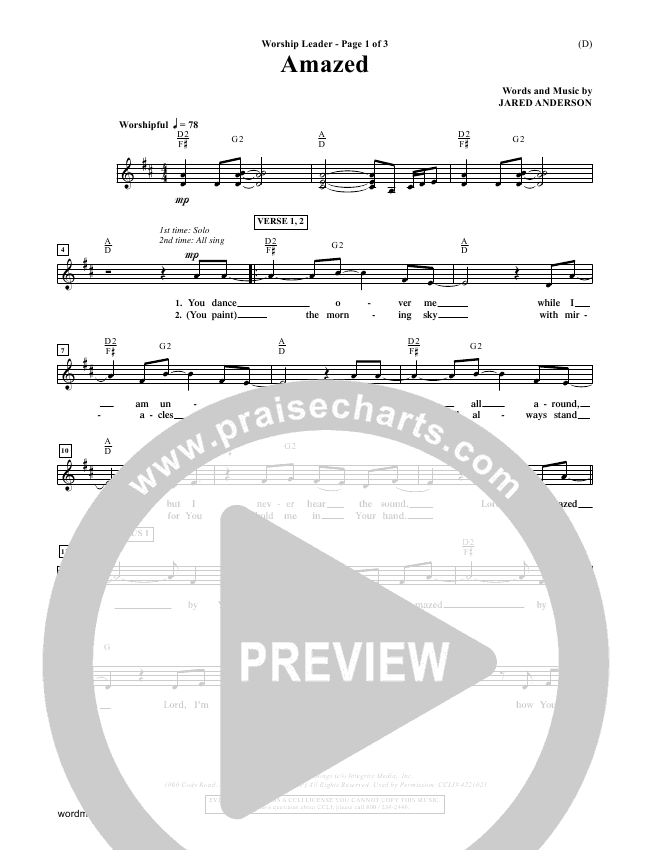 Amazed Piano/Vocal Pack (Jared Anderson)