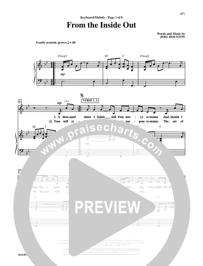 From The Inside Out Piano Sheet (Joel Houston)