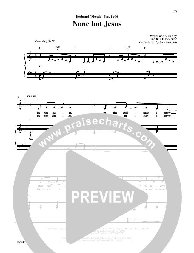 None But Jesus Piano Sheet (Brooke Fraser)