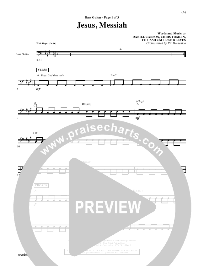 Jesus Messiah Rhythm Chart (Chris Tomlin)