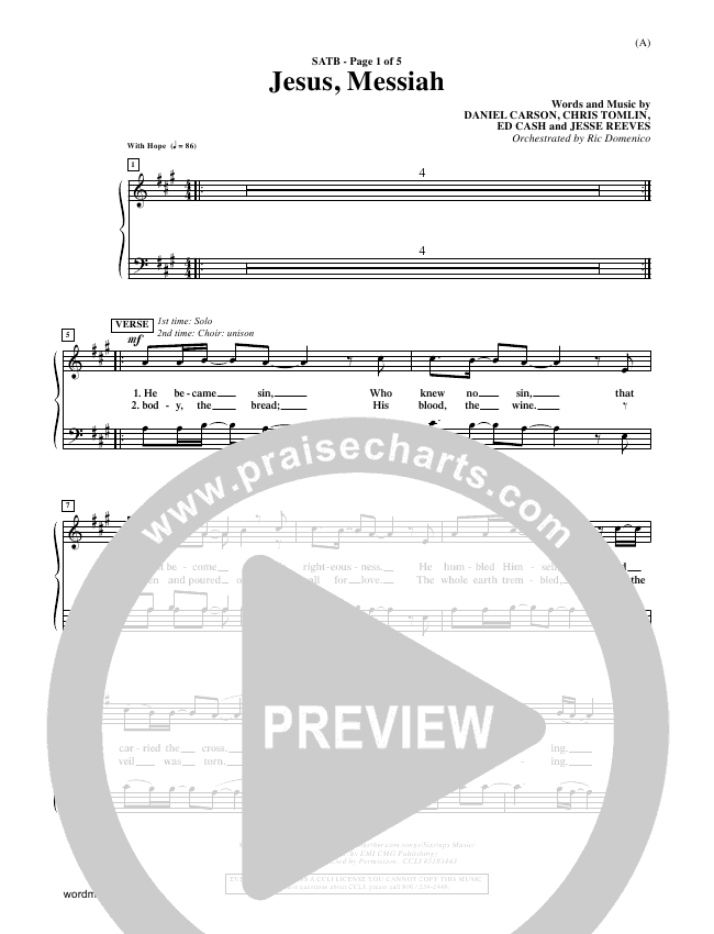 Jesus Messiah Choir Sheet (SATB) - Chris Tomlin | PraiseCharts