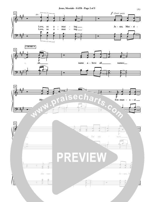 Jesus Messiah Choir Sheet (SATB) (Chris Tomlin)