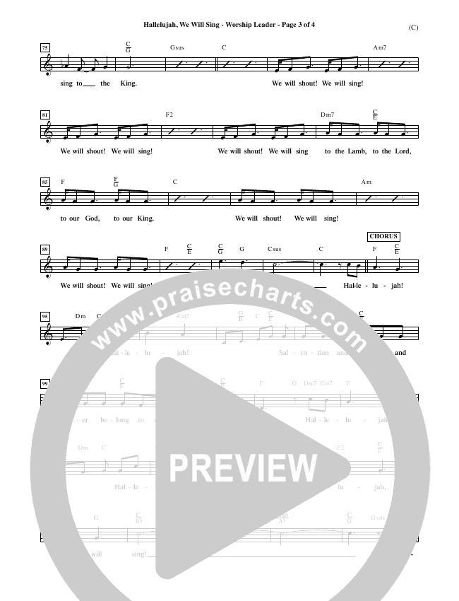 Hallelujah We Will Sing Lead Sheet (Tommy Walker)