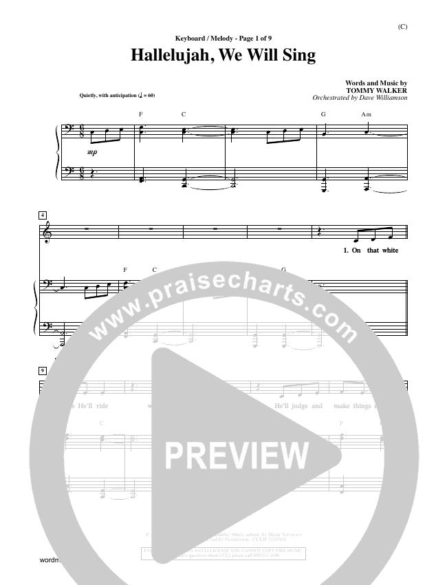 Hallelujah We Will Sing Piano Sheet (Tommy Walker)