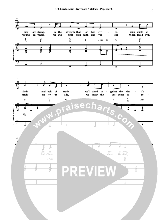 O Church Arise Piano Sheet (Keith Getty)