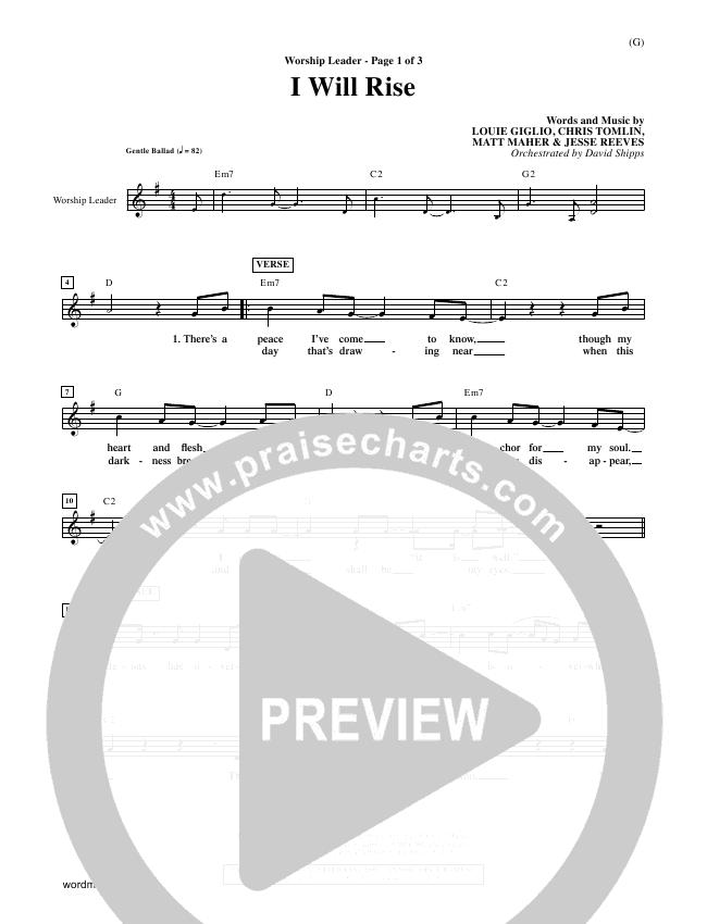 I Will Rise Orchestration Chris Tomlin Praisecharts