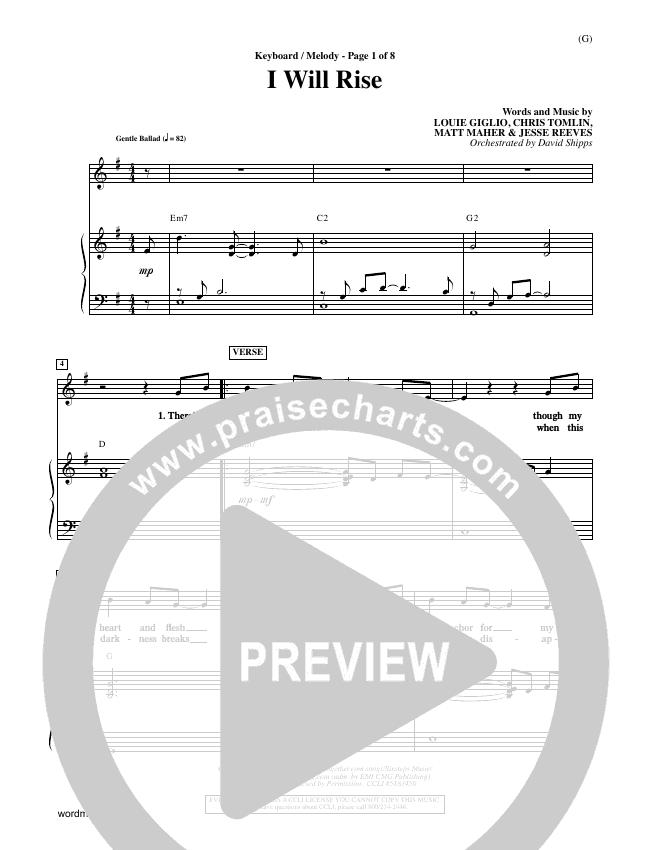 I Will Rise Piano Sheet (Chris Tomlin)