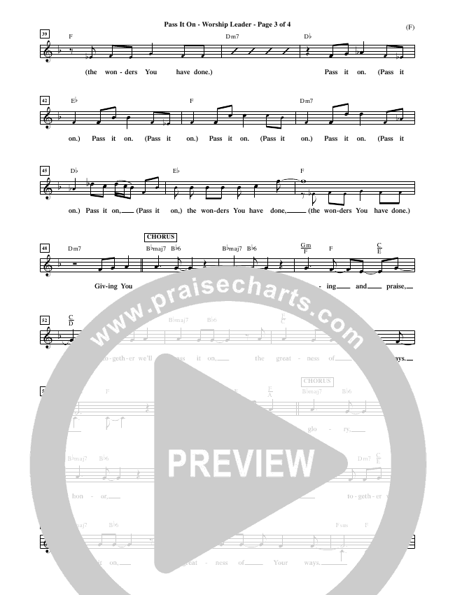Pass It On Piano/Vocal Pack (Tommy Walker)