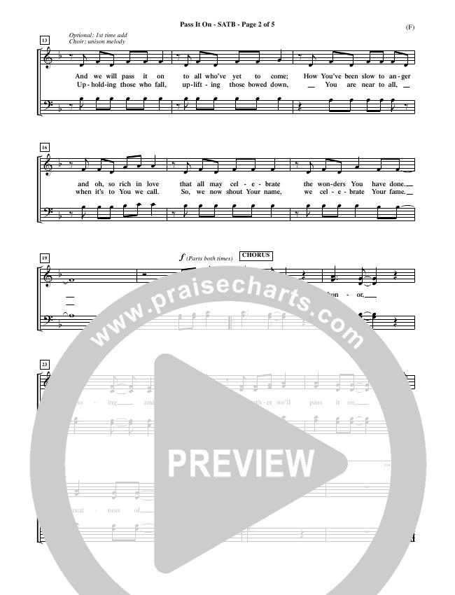 Pass It On Choir Sheet (SATB) (Tommy Walker)