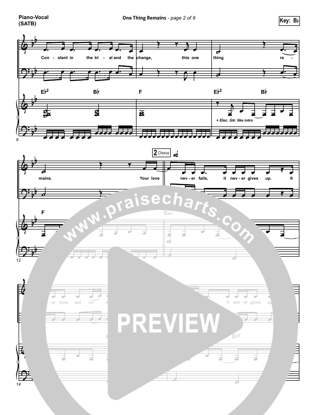 One Thing Remains Piano/Vocal (SATB) (Bethel Music)