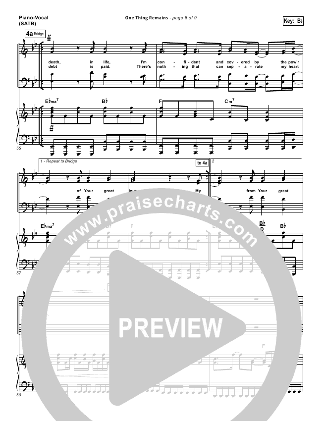 One Thing Remains Lead Sheet Pianovocal Bethel Music Praisecharts