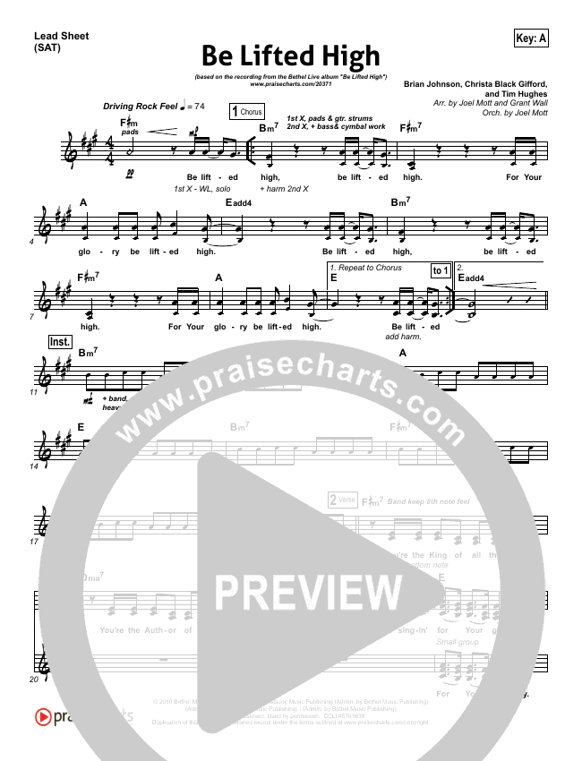 Be Lifted High Lead Sheet (SAT) (Bethel Music)