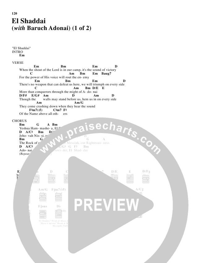 El Shaddai With Baruch Adonai Chords Paul Wilbur Praisecharts