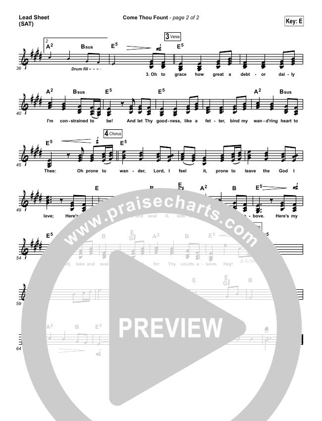 Come Thou Fount Lead Sheet (SAT) (David Crowder / Passion)