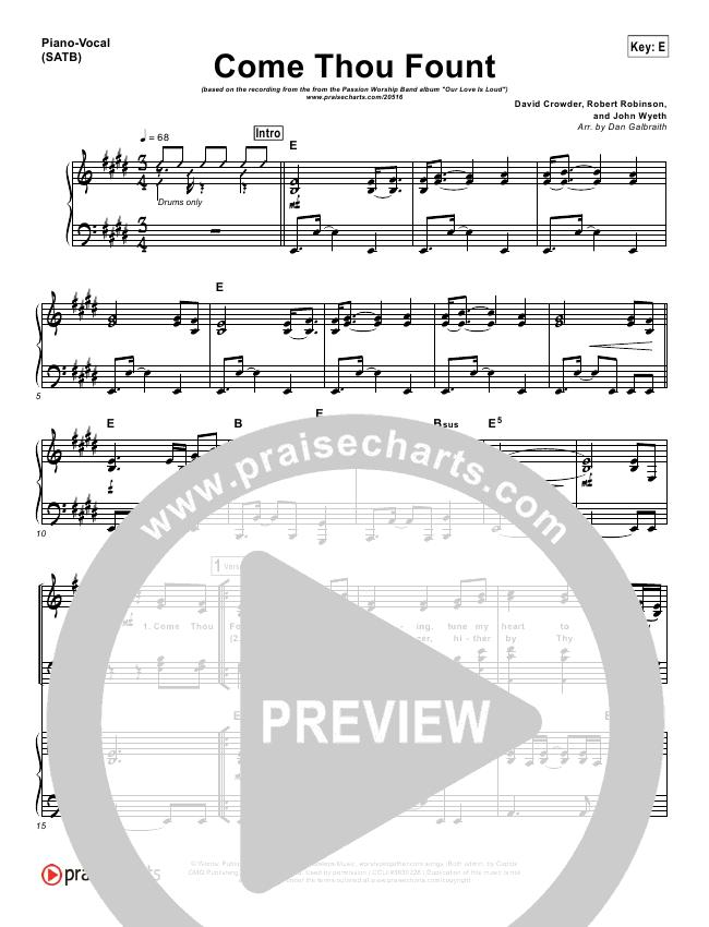 Come Thou Fount Lead & Piano/Vocal (David Crowder / Passion)