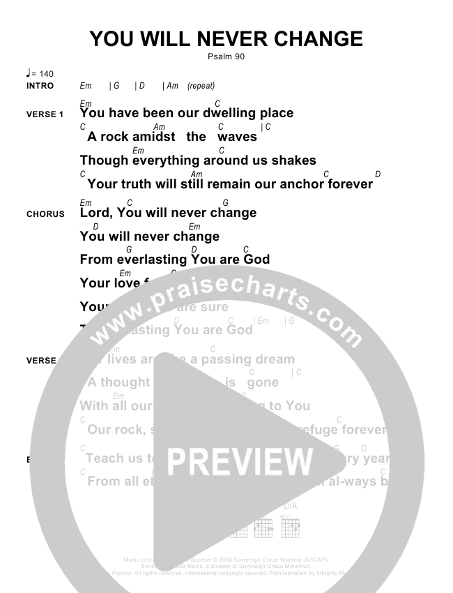 You Will Never Change Chords Sovereign Grace Praisecharts