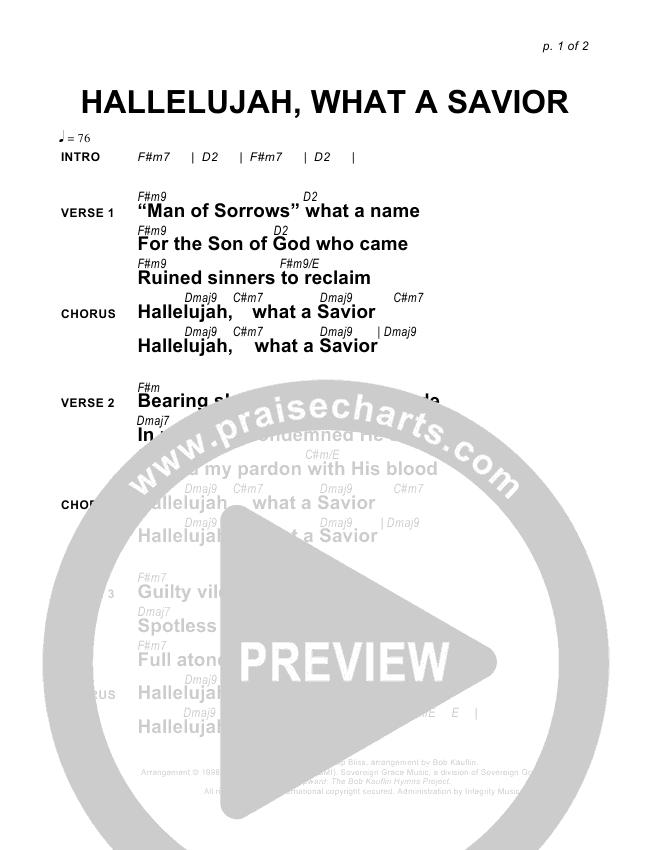 Hallelujah What A Savior Chords - Sovereign Grace | PraiseCharts