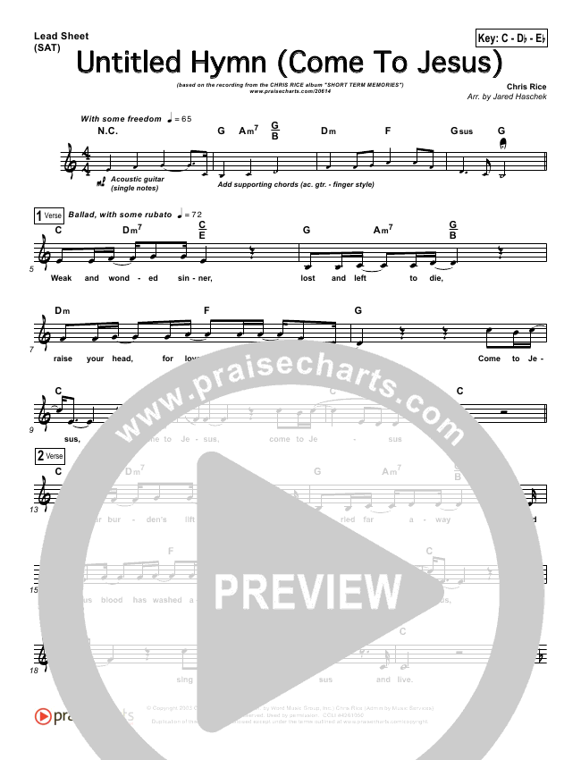 Untitled Hymn (Come To Jesus) Lead Sheet - Chris Rice | PraiseCharts