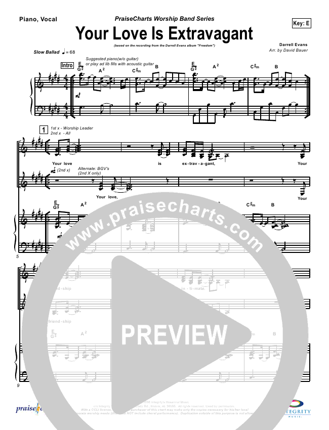 Your Love Is Extravagant Orchestration - Darrell Evans   PraiseCharts