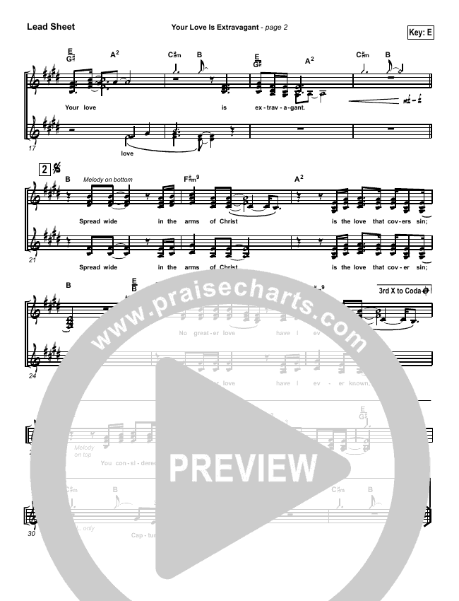Your Love Is Extravagant Lead Sheet Pianovocal Darrell Evans
