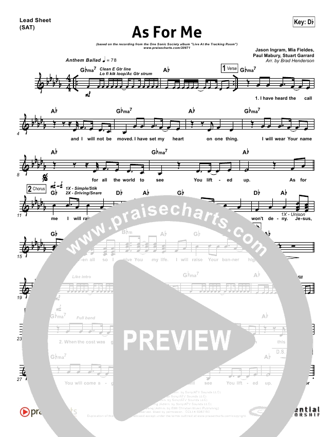 As For Me Lead Sheet (One Sonic Society)