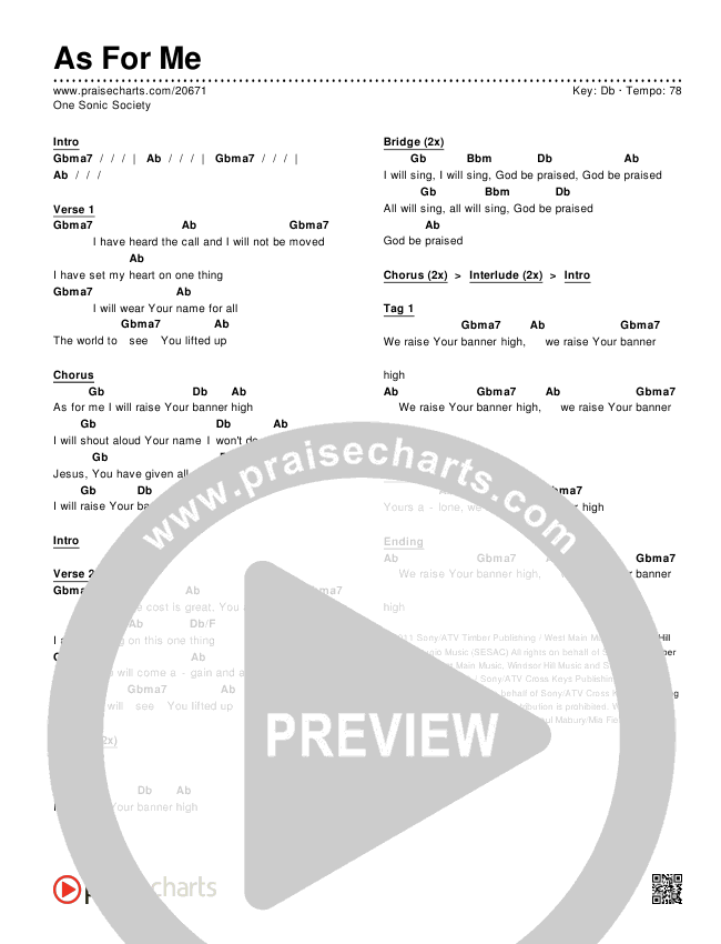 As For Me Chords & Lyrics (One Sonic Society)