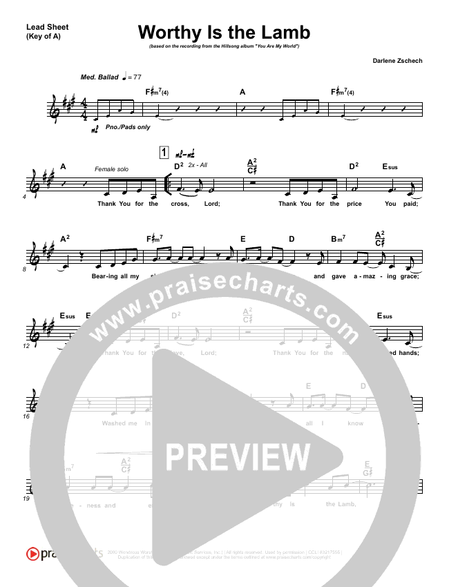 Worthy Is The Lamb Lead Sheet (Melody) (Hillsong Worship)