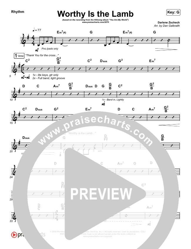 Worthy Is The Lamb Rhythm Chart (Hillsong Worship)