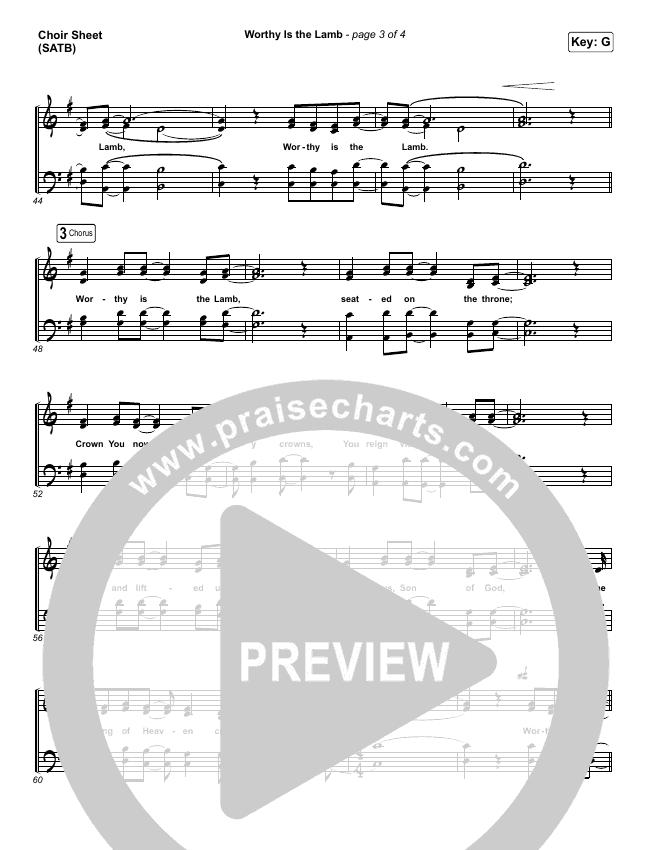 Worthy Is The Lamb Choir Sheet (SATB) (Hillsong Worship)