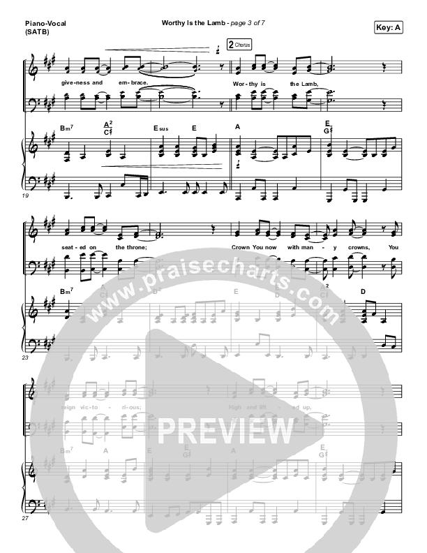 Worthy Is The Lamb Piano/Vocal (SATB) (Hillsong Worship)