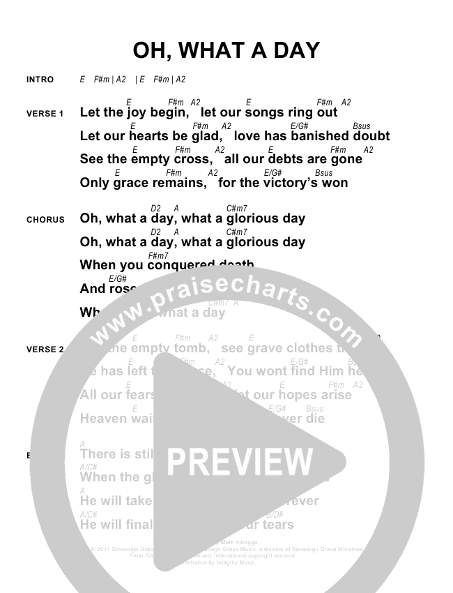 Oh What A Day Chords - Sovereign Grace | PraiseCharts