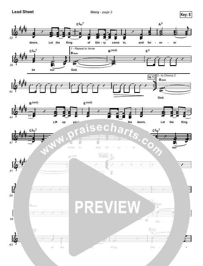 Glory Lead & Piano/Vocal (Hillsong Worship)