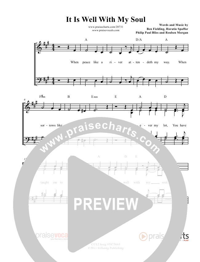 It Is Well With My Soul Lead Sheet (PraiseVocals)