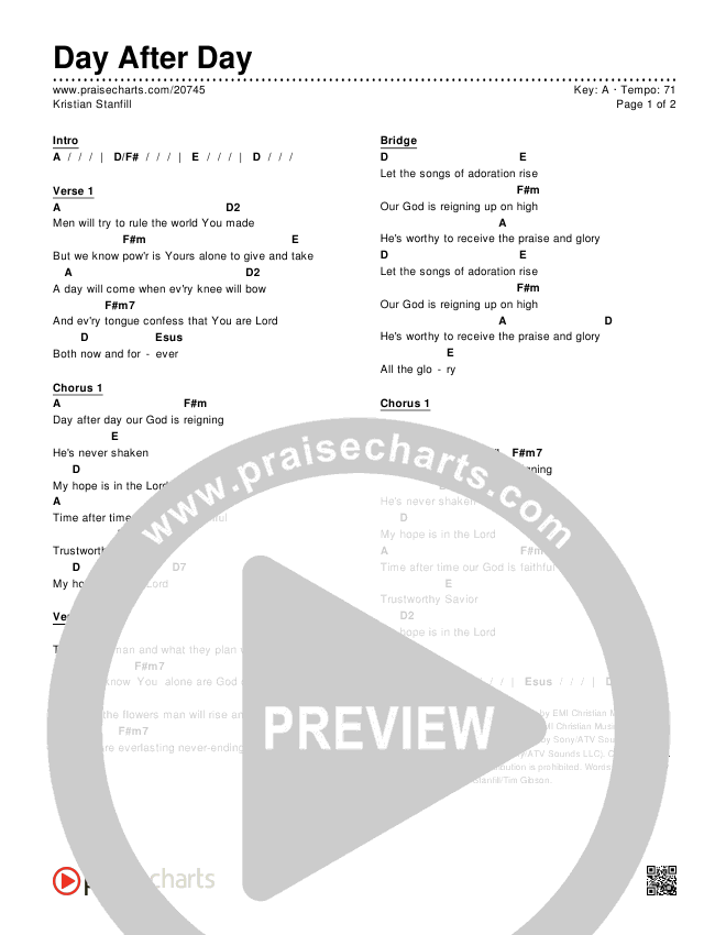 Day After Day Chords & Lyrics (Kristian Stanfill)