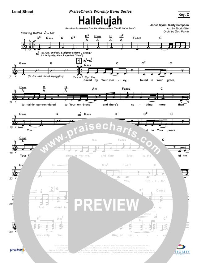 Hallelujah Lead Sheet Pianovocal Hillsong Worship Praisecharts