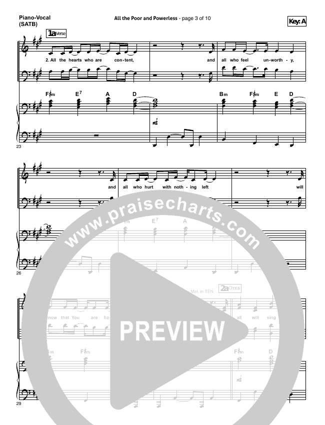 All The Poor And Powerless Piano/Vocal (SATB) (All Sons & Daughters)