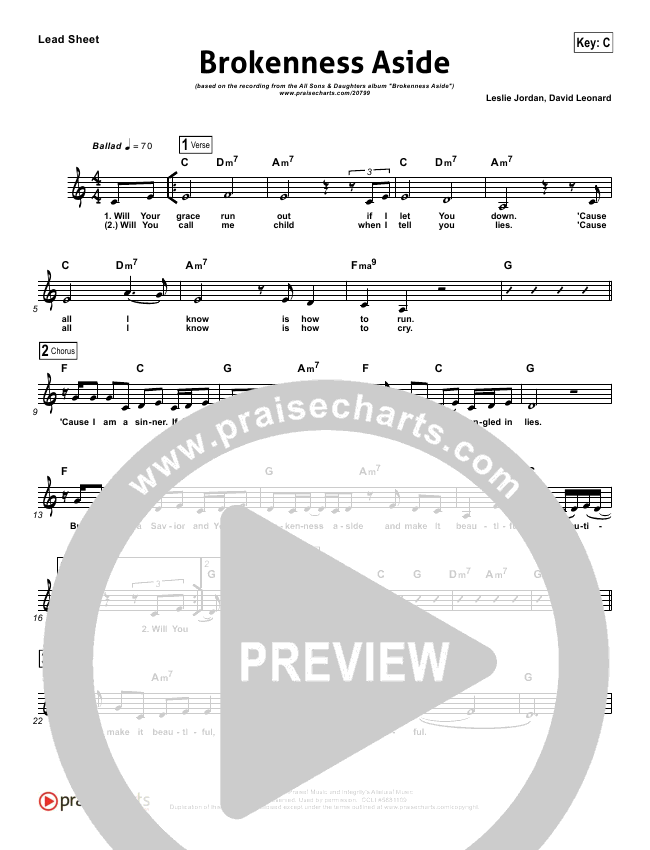 Brokenness Aside Lead Sheet - All Sons & Daughters | PraiseCharts