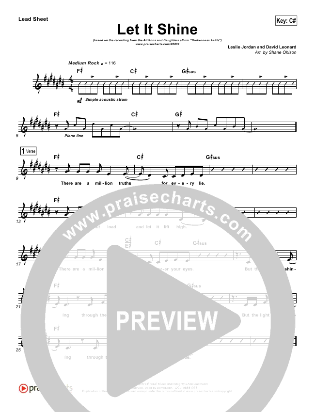 Let It Shine Lead Sheet - All Sons & Daughters   PraiseCharts