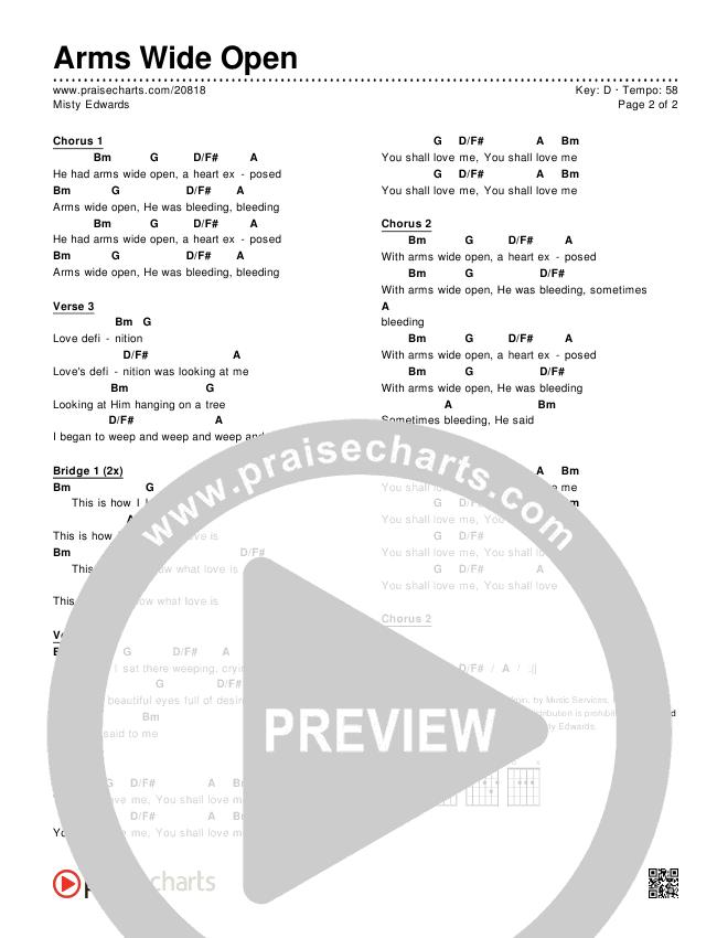 Arms Wide Open Chords & Lyrics (Misty Edwards)