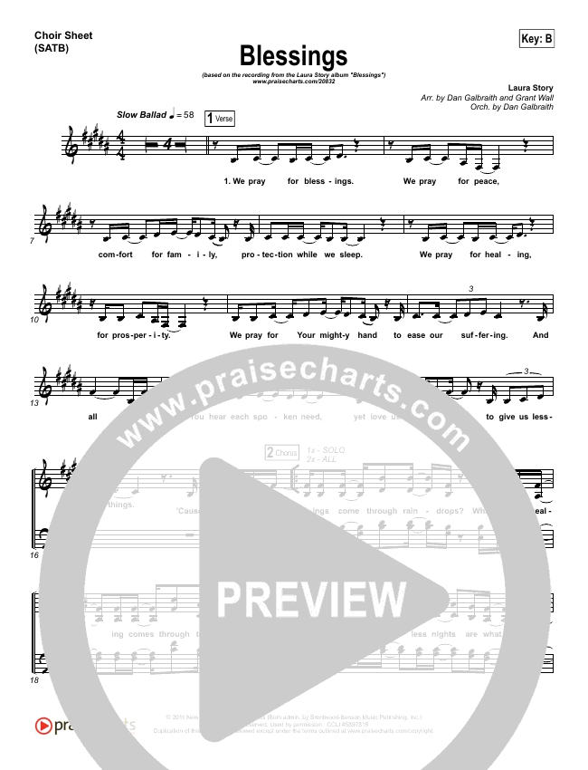 Blessings Choir Sheet Satb Laura Story Praisecharts